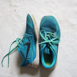 Blue and Green Nike Free 5.0